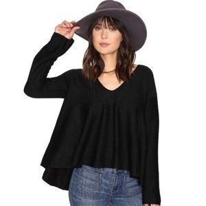 Free People Sundae Pullover Swing Black Sweater  S